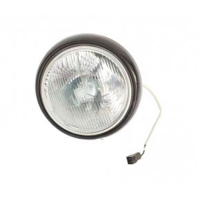 Фара в сборе (ободок С.О., с гидрокорректором, с выпуклым стеклом) с лампой АКГ 12-60+55-1 (Н4) (галогеновой) провод 300 мм колодка штырьевая