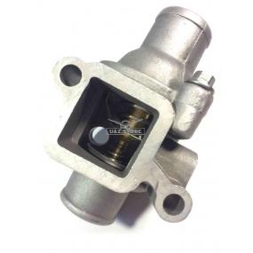 Корпус с термостатом ЗМЗ 409 нижний патрубок Ф38,5 мм, два сквозных отверстия с резьбой (без датчика температуры охлаждающей жидкости)