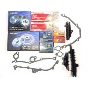 Комплект ремонтный привода ГРМ KENO (цепи 72 и 92 звена двухрядные, втулки 6,35, звездочки, успокоители, рычаги натяжного устройства со звездочкой, прокладки)